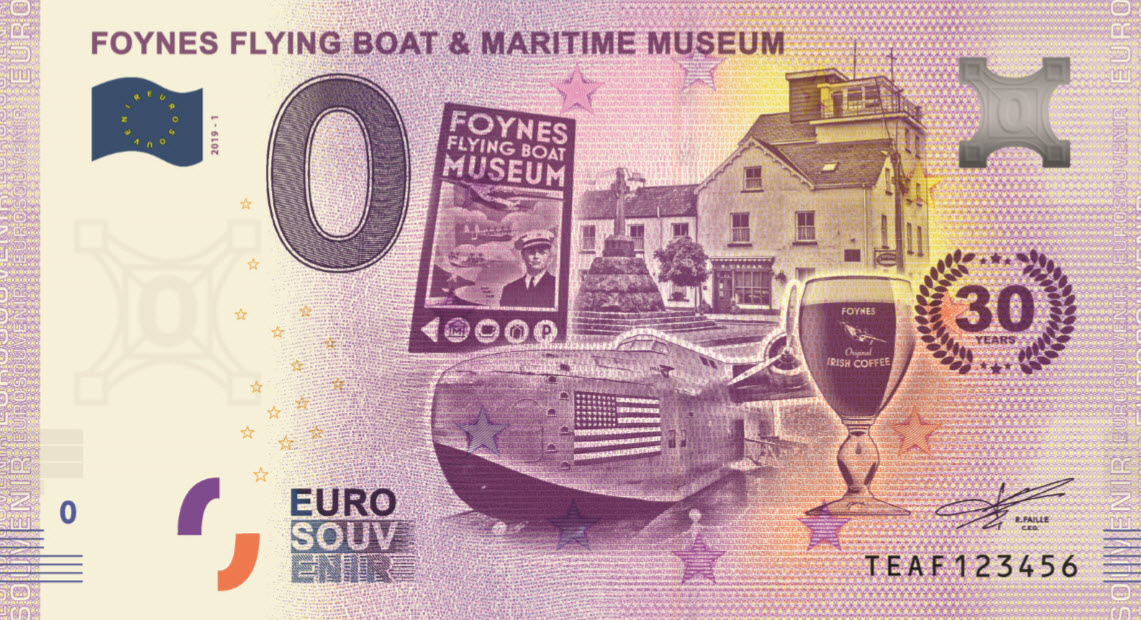 The 0 Euro banknote made for the Foynes museum